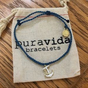 Pura Vida Bracelets - navy white & gold anchor